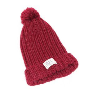 Maroon Beanie with Poof